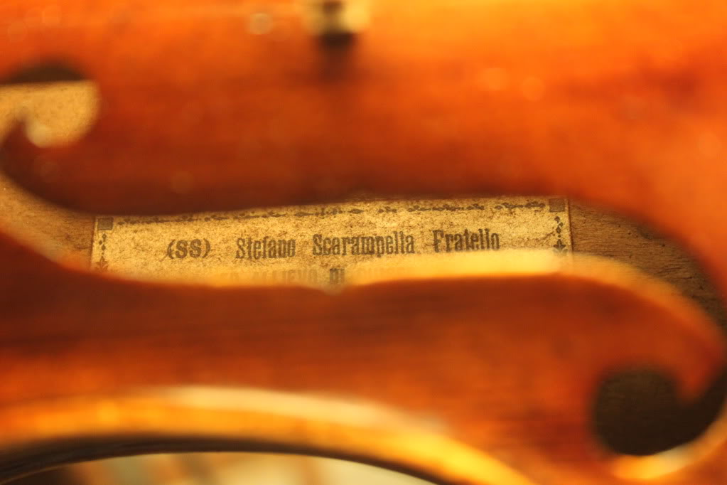 Old Italian violin labelled Stafano Scarampella 1909
