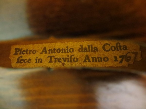 Antique Italian violin labelled Pietro Antonio Della Costa 1767, 18th century Italian violin