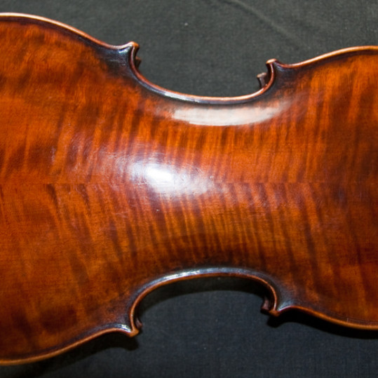 Wonderful flamed back of Old German violin from workshop of Friedrich August Glass 1830-60