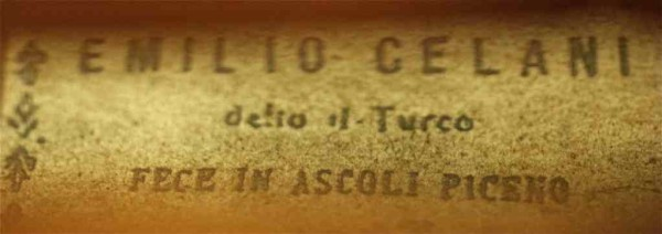 Label on Beautiful old antique Italian violin labelled Emilio Celani 1807