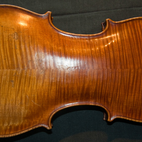 Back of German violin labelled Jacobus Stainer